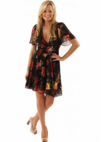 Jarlo Dress Mae Floral Print Tassle Detail Black Chiffon Dress