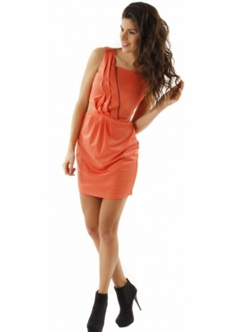 House Of Dereon Dress Coral Cut Out Zip Detail Jersey Mini Dress