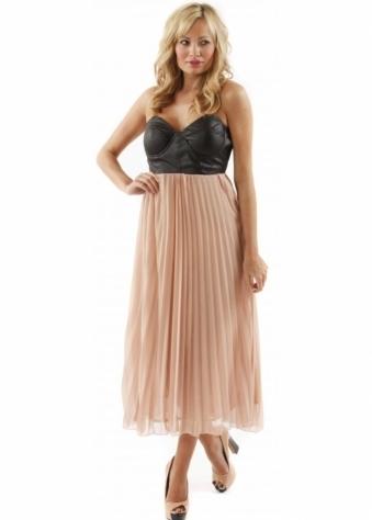 Reverse Dress Black Leather Bustier Nude Pleated Dress