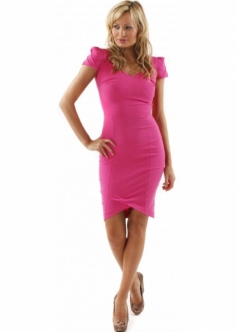 Hybrid Dress Cerise Sweetheart Pleated Cap Sleeve Dress