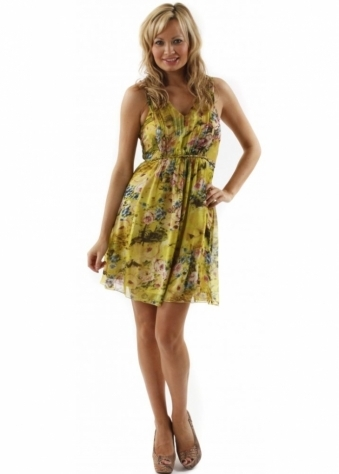 Traffic People Dress Mercy Floral Print Tribal Silk Dress