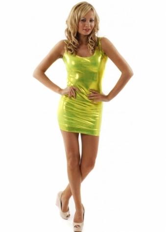 Quontum Dress Green Glime Shine Body Con Dress