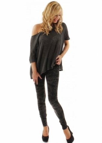 Leggings Leona Pebble Print Charcoal Jersey Leggings