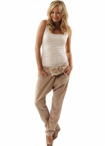 Lisa Jayne Dann Trousers Budapest Pleat Front Beige Harem Pants