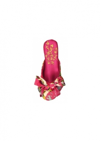 Slippers Oriental Bow Pink Satin Mules