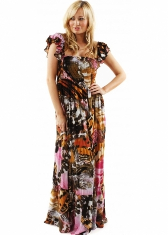 Traffic People Flutterby Print Brook Tiered Multi Coloured Multiwear Maxi Dress