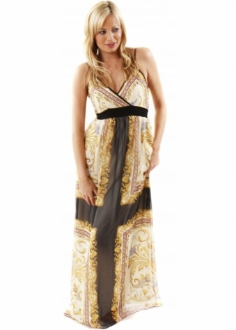 Little Mistress Dress Printed Chiffon Gold Chain Print Maxi Dress