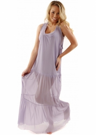 A Postcard From Brighton Dress Maxine Dusky Lilac Tiered Mesh Over Maxi Dress