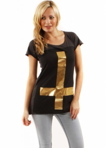 Top Gold Cross Oversize Faded Black Cotton Tee