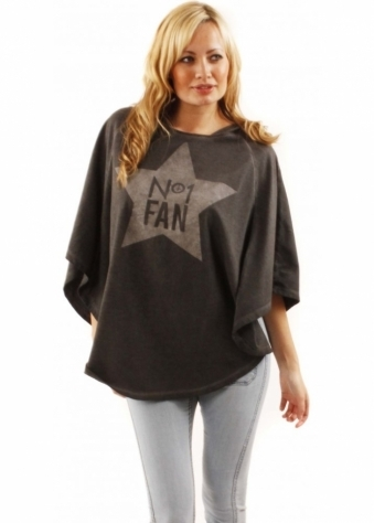 Sinstar Poncho No.01 Fan Printed Grey Jersey Festival Hooded Poncho