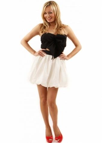 Reverse Dress Cut Away Black & Cream Bow Mini Puffball Dress