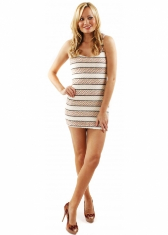 Reverse Dress Navajo Knit Strappy Back Cream Bodycon Mini Dress