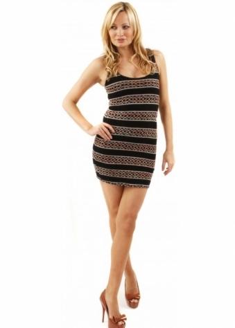 Reverse Dress Navajo Knit Strappy Back Black Bodycon Mini Dress