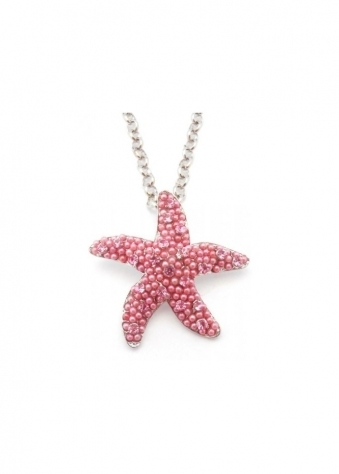 Starfish Necklace Limited Edition Pink Czech Crystals