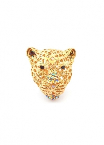 Leopard Head Ring Gold & Smoked Topaz Czech Crystal Limited Edition