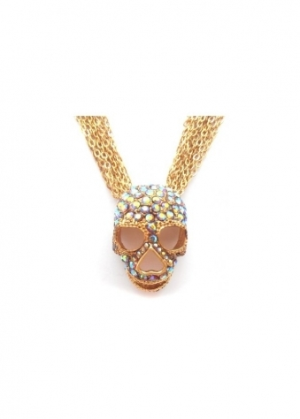 Skull Necklace Gold & Smoked Topaz Czech Crystals Limited Edition