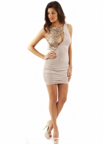 House Of Dereon Dress Sequin Pierced Peekaboo Ruched Beige Mini Dress