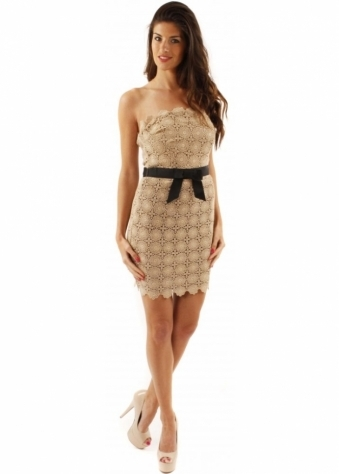 Goddiva Dress Mocha Crochet Lace Flowers With Soft Boned Bustier Top