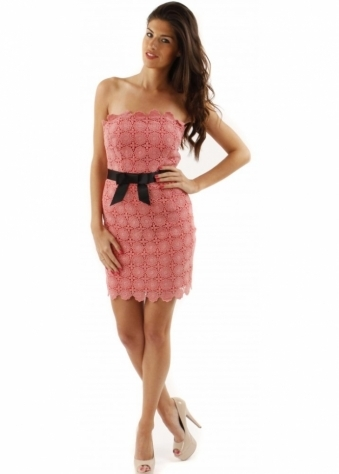 Goddiva Coral Crochet Lace Flowers Dress