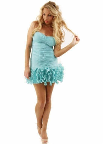 Goddiva Dress Mint Futurama Ruched Tu Tu Strapless Party Dress