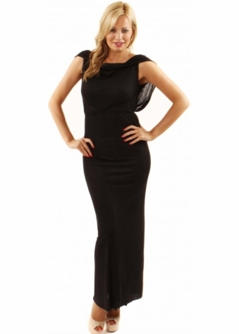 Draped Waterfall Back Black Milla Maxi Dress