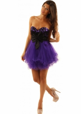 Purple Satin Joyce Prom Dress