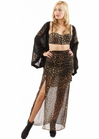 House Of Dereon Leopard Print High Split Maxi Skirt