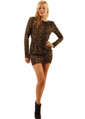 House Of Dereon Leopard Print Open Back Boat Neck Dress