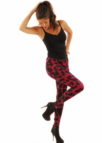 Leggings Leopard Print Black & Pink