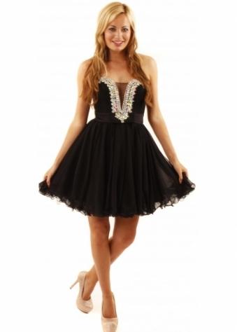 Forever Unique Bijou Dress Embellished Black Chiffon Prom Dress