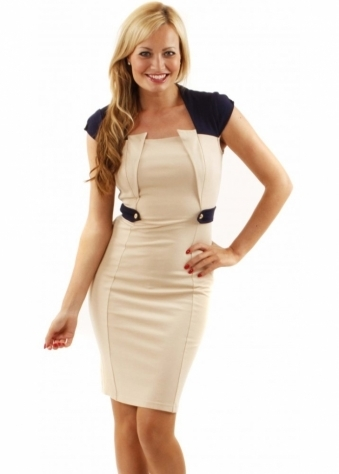 Little Mistress Neva Cream Epaulette Detail Bodycon Dress