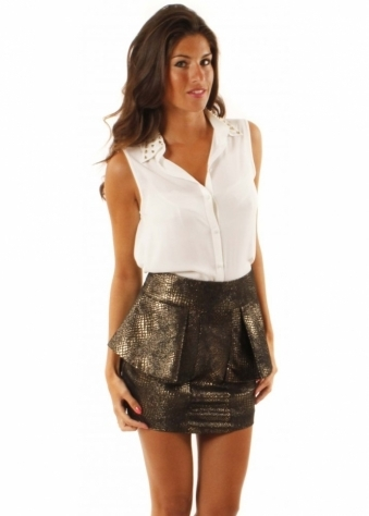 Selfish Whiskey Snake Effect High Waisted Mini Peplum Skirt