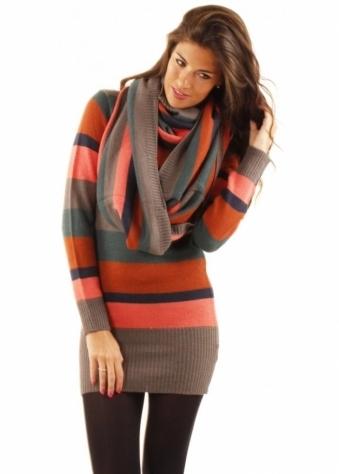 ICHI Mutli Coloured Striped Snood
