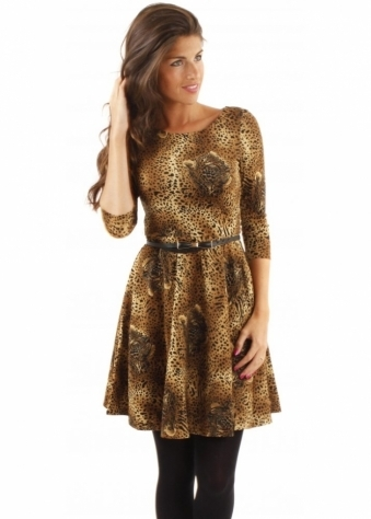 Traffic People Audrey Dress Leopard Skater With Belt