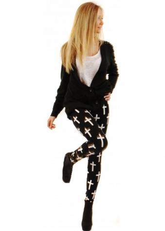 Reverse Black & White Cross Print Leggings