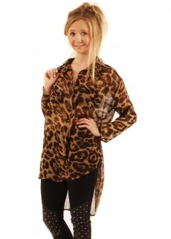 Reverse Hi Lo Stud Collar Leopard Print Shirt