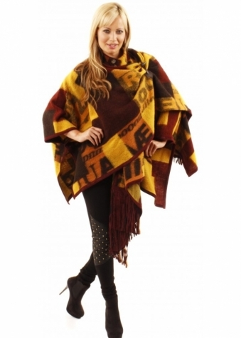 Urbancode Patch Work Wool Fringed Cape