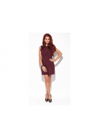 Kay Aubergine Shift PVC Detail Dress
