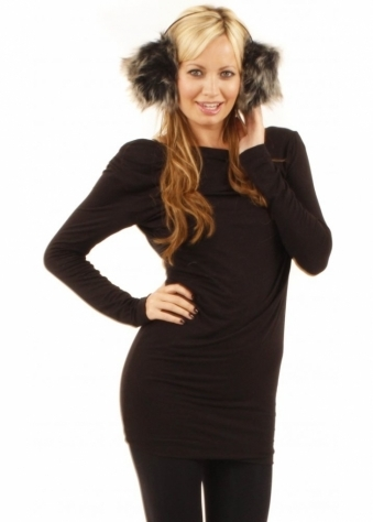 Grey Tipped Faux Fur Ear Muffs