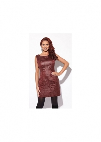 Amy Childs Mimi Dress Moc Croc Burgundy Shift