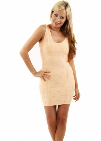 Peach Bodycon Bandage Vest Dress