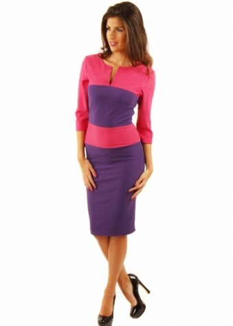 Charming Pink & Purple Colour Block Sleeved Pencil Dress