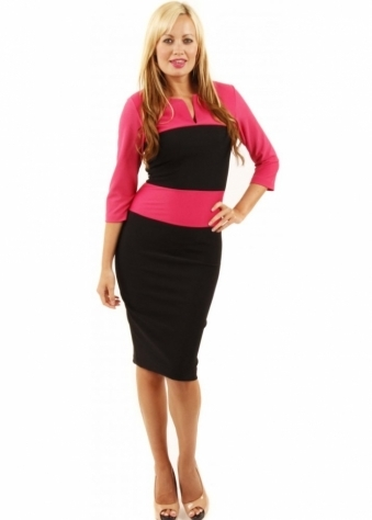 Charming Pink & Black Colour Block Sleeved Pencil Dress