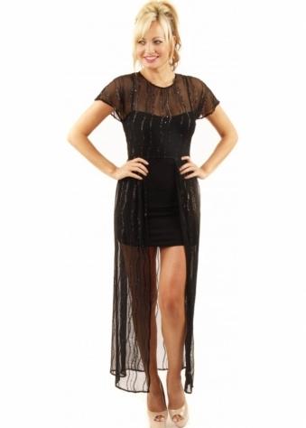Love Black Lurex Mesh Maxi Dress With Jersey Slip
