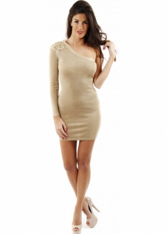 One Shoulder Gold Lurex Mini Dress