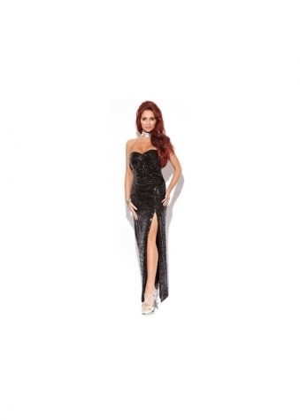 Amy Childs Tamara Black Sequin Bustier Maxi Dress