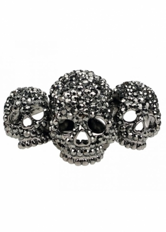 Petwer Crystal Skulls With Love Three Skull Elastic Ring