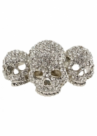 Silver Crystal Skulls With Love Three Skull Elastic Ring