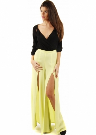 Finders Keepers Road To Love Split Leg Lime Palazzo Pants