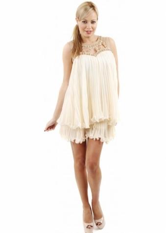 Naomi Tsukishima Cream Pleated Frilly Layered Tunic Dress
